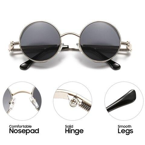 Vintage Steampunk Sunglasses Men Round Punk Alloy Metal Hip pop Red Sun Glasses Women 2019 Goggles Men Gothic Style Shades Karachi