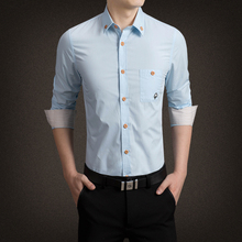 2019 embroidery men shirt cotton casual slim fit plus size 5xl business long sleeve dress tops male clothing