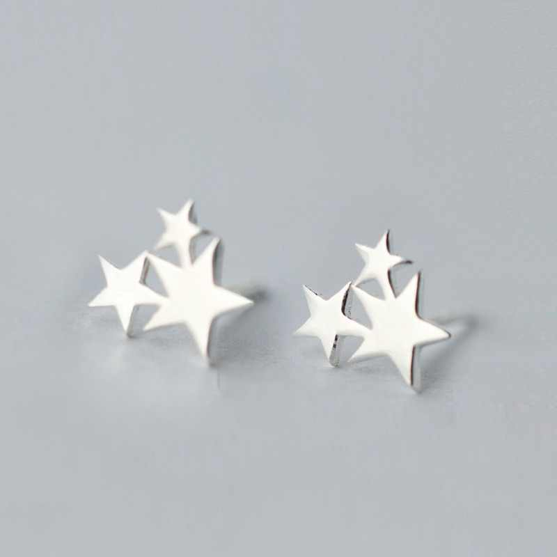 100% 925 Sterling Silver Star Stud Earrings For Women Hypoallergenic Wedding Jewelry Gifts Female Pendientes Brincos A123