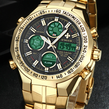 New Relogio Masculino 2018 Top Brand Luxury Watch Men Watches Golden Stainless Steel Military Wristwatch Big Dial Clock Male