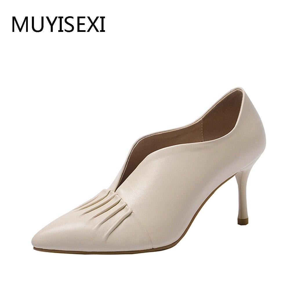 Las Mujer Beige Alto beige Zapatos Mujeres Black Tamaño Dmj02 Oficina  Muyisexi Tacón Brillante Otoño Niñas ... 7ef93676e30e
