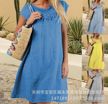 Large size Womens Dress 2019 Summer Dresses solid color lace stitching round neck short sleeve