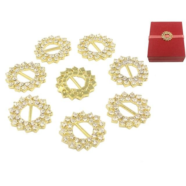 Nidalee Rhinestone Buckle Ribbon Slider Metal Diamante Brass Decor
