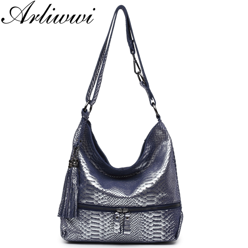Arliwwi Brand High Quality Silver Snake Embossed Genuine Leather Messenger Bags For Women Fashion Shiny Cow Suede Handbags