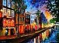 Bela Pintura Home Decor amsterdam vermelho luzes Coloridas pinturas a óleo Da Lona Arte Moderna pintados à Mão de Alta qualidade