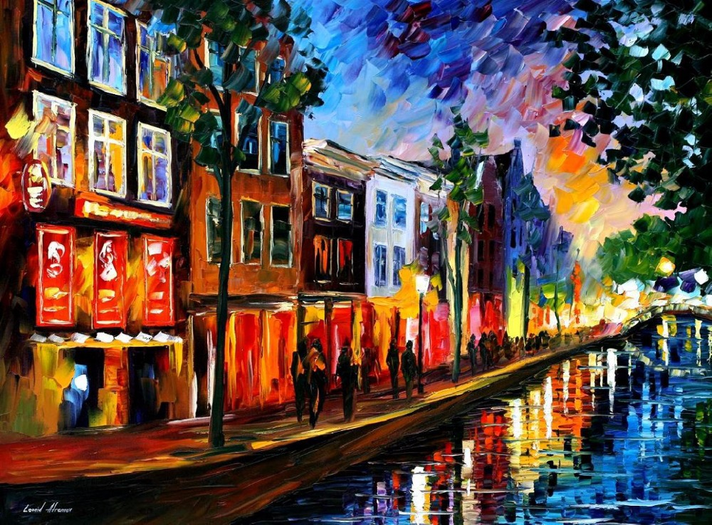 beautiful Painting Home Decor amsterdam red lights Colorful oil paintings Canvas Modern Fine Art High quality Hand paintedbeautiful Painting Home Decor amsterdam red lights Colorful oil paintings Canvas Modern Fine Art High quality Hand painted