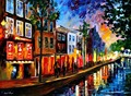 beautiful Painting Home Decor amsterdam red lights Colorful oil paintings Canvas Modern Fine Art High quality Hand painted