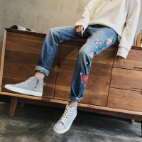 M XXL!! Spring and autumn new side seam embroidered craft literary retro jeans tide brand men's loose la la wash trousers.