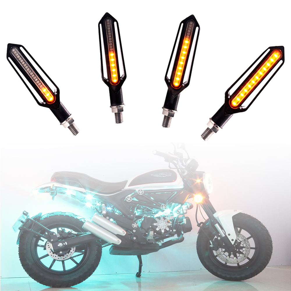 2Pcs LED Motorcycle Turn Signals Light Flowing Water Flashing Lights Flexible Tail Lamp Bendable Motorcycles Blinker Indicators