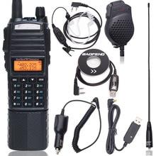 Baofeng UV 82 플러스 8w 워키 토키 8 와트 강력한 장거리 10 kmdual 밴드 3800 mah dc 커넥터 사냥 양방향 라디오