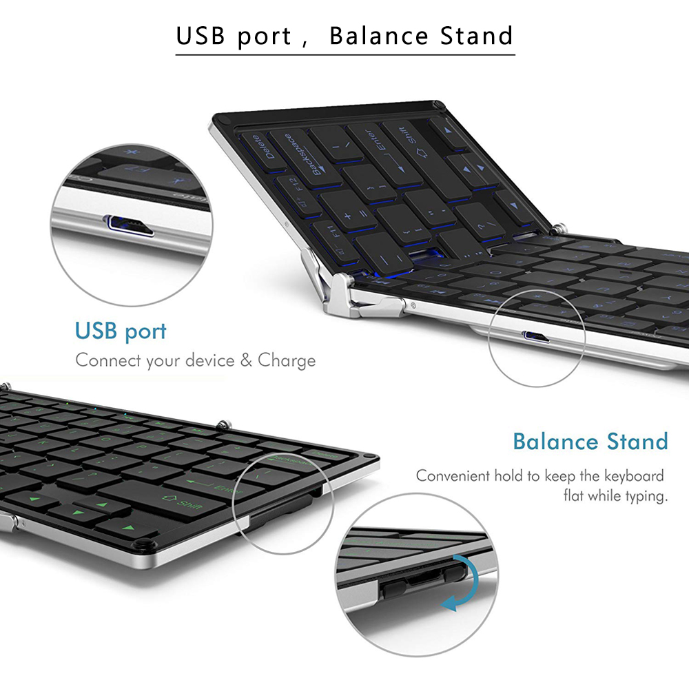 Image 4 - AVATTO Aluminum alloy Portable Folding Bluetooth Keyboard, BT wireless Backlit mini Tablet Keyboard For IOS/Android/Windows ipad-in Keyboards from Computer & Office