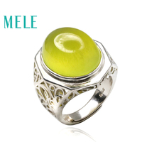 Natural prehnite 925 sterling silver rings for women and man,Big Oval 16X20mm28ct gemstone fashion atmosphere Statement Jewelry