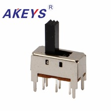 цена на 20PCS SS-23D04 2P2T Double pole double throw 3 position slide switch 6 solder lug pin verticle type with 4 fixed pin