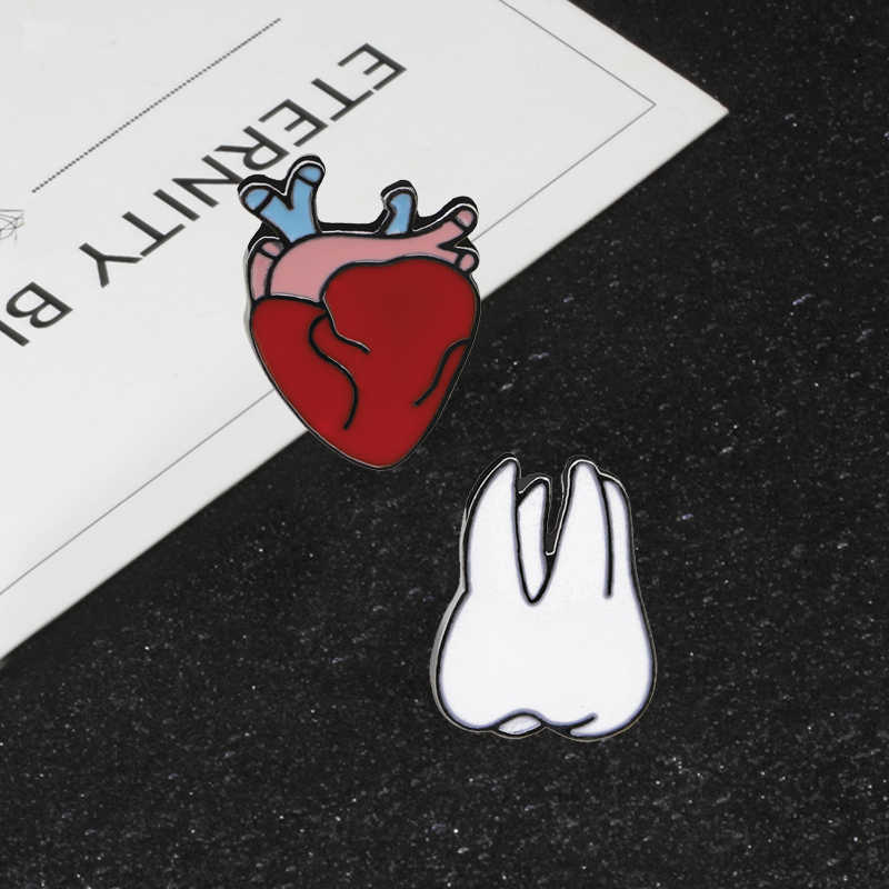New Creative Personality Fashion Pin for Women Man Cartoon Heart Teeth Enamel Pins Nurse Doctor Bag Hat Coat Badge Kids Gift