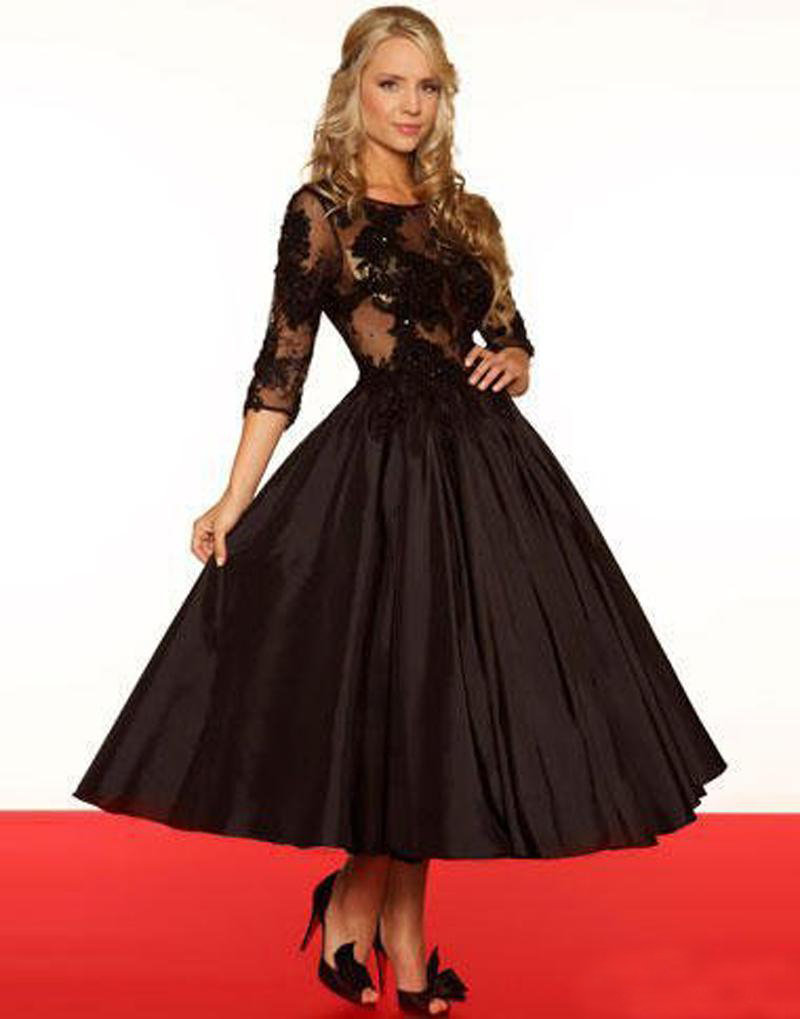 Black dress for prom night - Vintage Black A Line Dress For Prom Night 2016 Charming See Through Appliqued Cocktail Party Dresses With 3 4 Sleeves