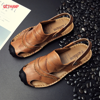 Hot New Men Sandal Fashion Summer Luxury Genuine Leather Leisure Beach Shoes High Quality Sandals Men's Sandalias Size 38 44