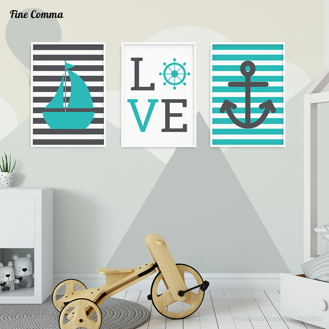 Nordic Style Kids Decoration Kids Room Sea Marin Ocean Posters And