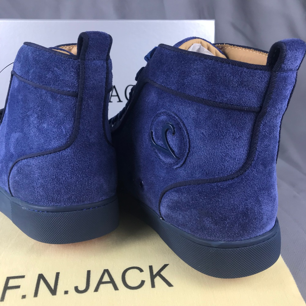FNJACK Fashion Louis Flat Spikes Suede Pervenche Sneakers Signature - Men's Shoes - Photo 6