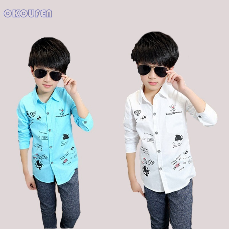 School Kids Shirts For Boys Clothes Long Sleeve Cartoon Boys Blouses Cotton  Letter Print Children Tops Teenage Students Clothing shirts for boys kids  shirtsboys blouse - AliExpress