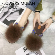 Luxury Brown Black White Rabbits Fur Slippers Women Round Toe Slip On Long Plush Lining Slides Outdoor Rhinestone Ear Shoes(China)
