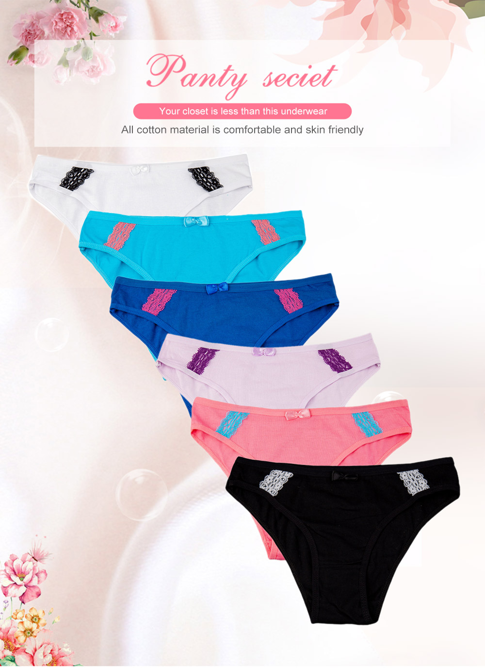 Women Lace Soft Cute Bowknot Underpants Underwear Cotton Panties Brief