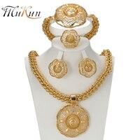 SHILU 2017 Latest Big Dubai Gold Plated Jewelry Sets Fashion Nigerian Wedding African Beads Costume Necklace