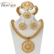 MUKUN 2017 Latest Big Dubai Gold color Jewelry Sets Fashion Nigerian Wedding African Beads Costume Necklace Bangle Earring Ring(China)