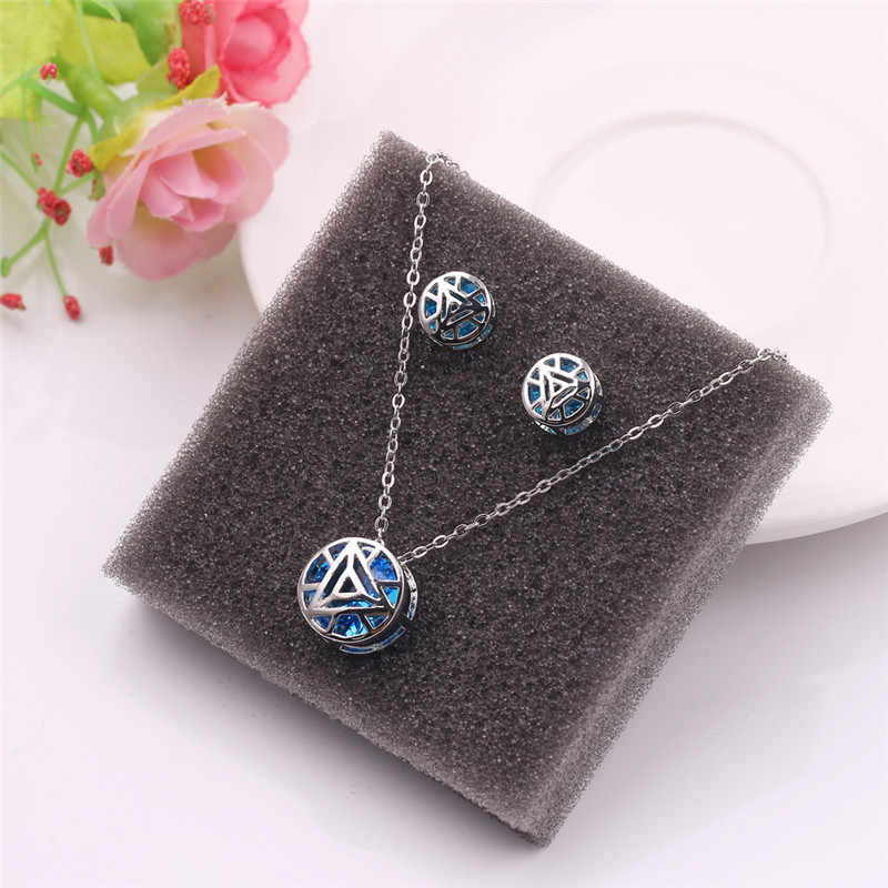 Marvel Avengers Iron Man Arc Reactor Pendant Necklace Tony Stark I Love You 3000 Times Necklaces Women Men Choker Jewelry Gift