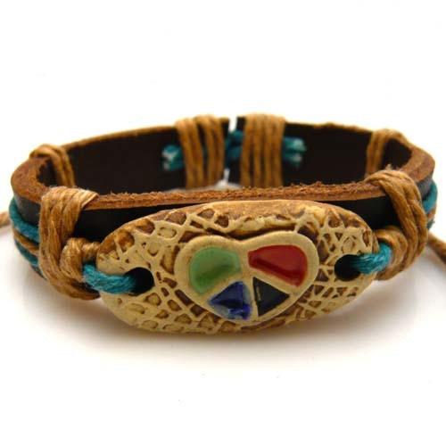 Unisex Bracelet jewelry genuine leather colorful heart churchwarden vintage wristband bangle