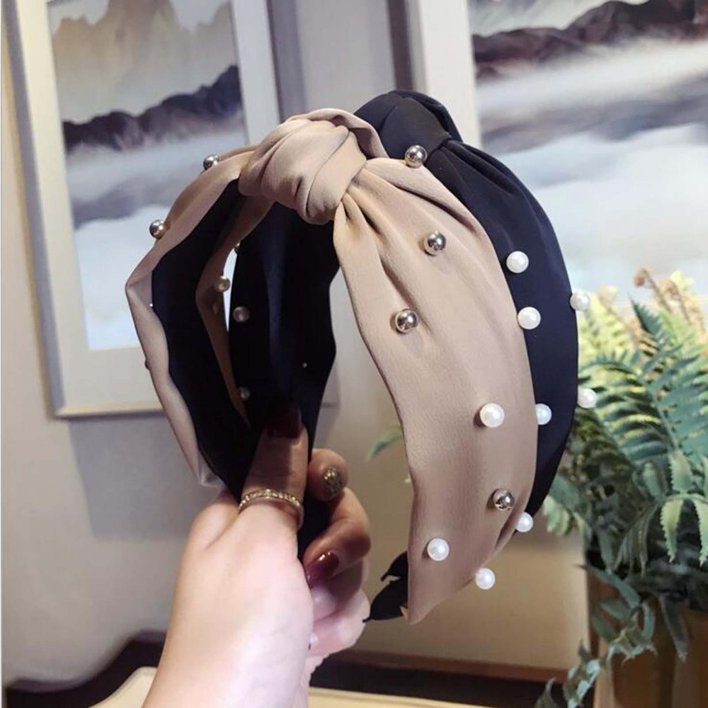 Fashion Wide Side Hairband Lovely Turban Head Band Pearl Hair Accessories Fresh Women Hair Hoop Striped Hair Bands Wholesale