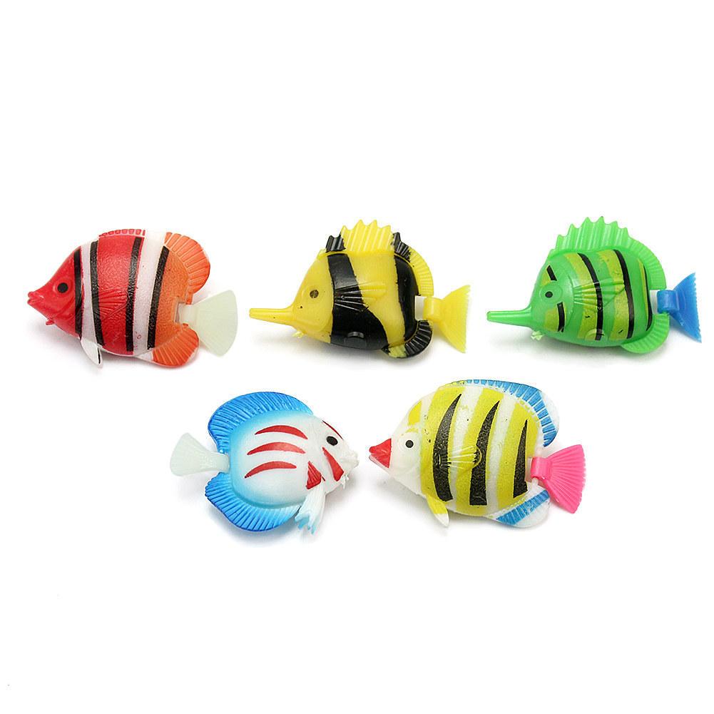 Fish tank toys - 5pcs High Quality Plastic Floating Fake Artificial Mini Lifelike Tropical Fish Aquarium Fish Tank Pond Ornament