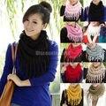 2015 Горячая распродажа зимой вокруг шеи шарф новый женский шарф зимой теплые вязаные шарфы с бахромой прочистки прекрасный шарф платок для женщины 10 цветов A1