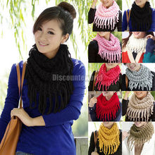 2016 Fashion Women Scarves Autumn Winter Warm Knit Wool Snood Scarf Cowl Neck Circle Shawl Wrap Ring Scarf 10 Color Gift Femme