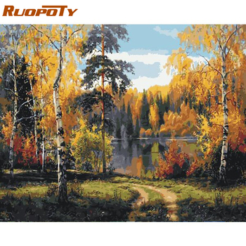 RUOPOTY Frame Autumn DIY Painting By Numbers Landscape Wall Handpainted Art Picture Canvas Painting Coloring By Numbers For Home ruopoty frame mountain lake diy painting by numbers landscape handpainted oil painting modern home wall art canvas painting art