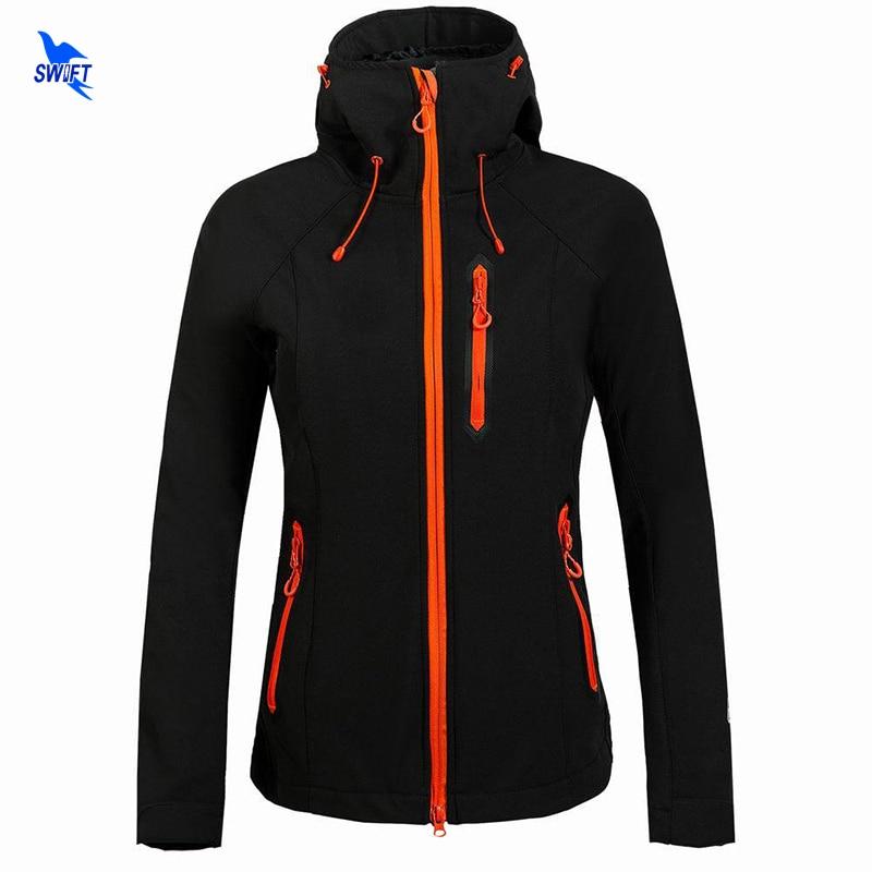 2018 Custom Logo Winter Fleece Softshell Jacket Women Outdoor Trekking Mountain Hiking Coat Windstopper Waterproof Ski Clothing