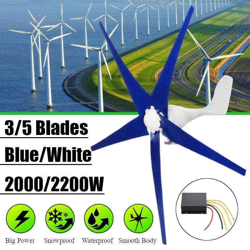 Branco/Azul de Vento para a Turbina de vento Gerador de Três ou Cinco Lâminas de Vento Opção 2000/2200 W Controlador Vento Presente apto para Casa Ou Camping