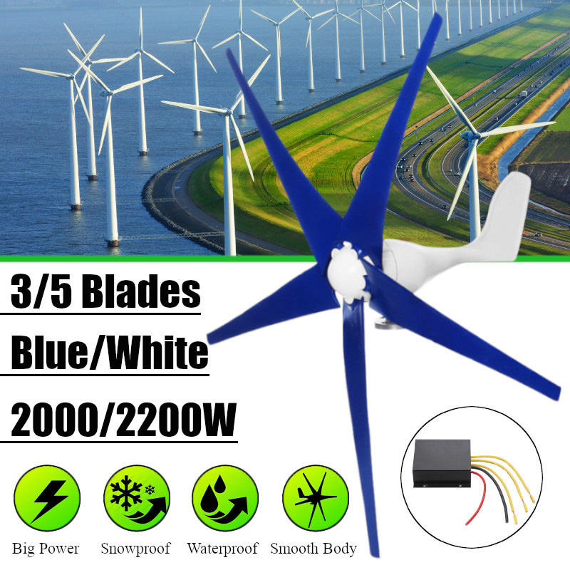 White/Blue Wind for Turbine Generator Three or Five Wind Blades Option 2000/2200W Wind Controller Gift Fit for Home Or CampingWhite/Blue Wind for Turbine Generator Three or Five Wind Blades Option 2000/2200W Wind Controller Gift Fit for Home Or Camping