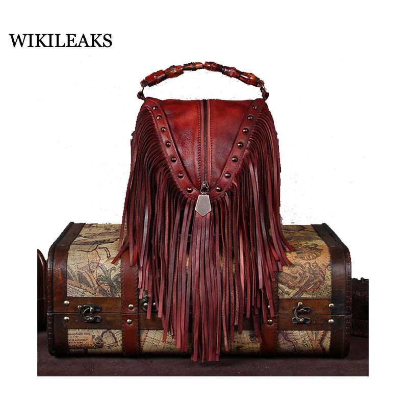 Women Genuine Leather Casual Real Cowhide Tote Bags Vintage Soft Small Trunk Shoulder Handbags Solid Tassels Bolsa Feminina