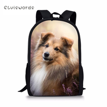 ELVISWORDS Kids Backpack Sheltland Sheepdog Childrens School Bag kawaii Animal Toddler Schoolbags Fashion Women Travel