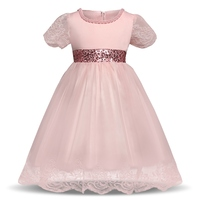 Hot Selling Pink Dress Summer Party Clothing Family Princess Clothes Happy Birthday Party Dress Girls New