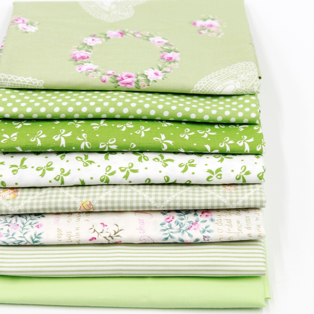 12PCS 23*24cm Green cotton Fabric Sewing Patchwork quilting diy doll Cloth