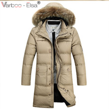 VARBOO_ELSA Winter coat With Fox Fur Collar Jacket Down Parkas Men 2017 Fashion Casual Hooded Long Thick Warm Parkas Male coats