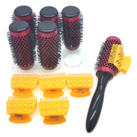 6pcs/set Hair Roller Brushes with Butterfly Clips Dedicated Hair Dryer Blowed & Vented Thermal Hairbrush Aluminum Comb 44mm 1297