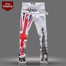 Autumn fashion white england printed famous brand jeans men pant denim trousers male straight personalized singer dance stage