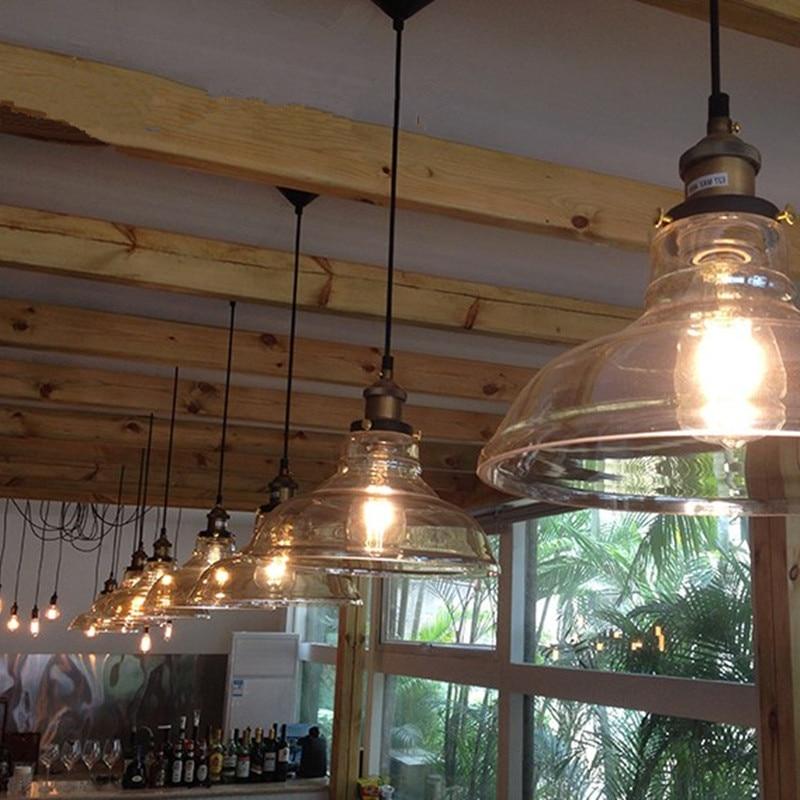 Vintage Pendelleuchte Schüssel Glas Hängelampe Edison Light - Innenbeleuchtung - Foto 4