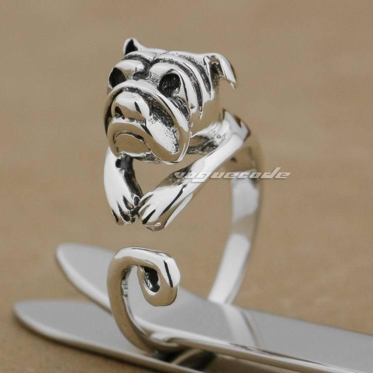 925 Sterling Silber Niedliche Bulldogge Mode Ring 9k006 Freie Größe 4 ~ 6,5