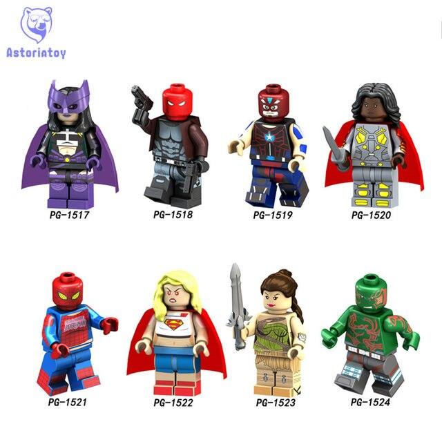8 PCS PG8123 Super heróis Aliança Vingador Superhero Spider-Man Mulher Maravilha Guerreiro Building Blocks Brinquedos