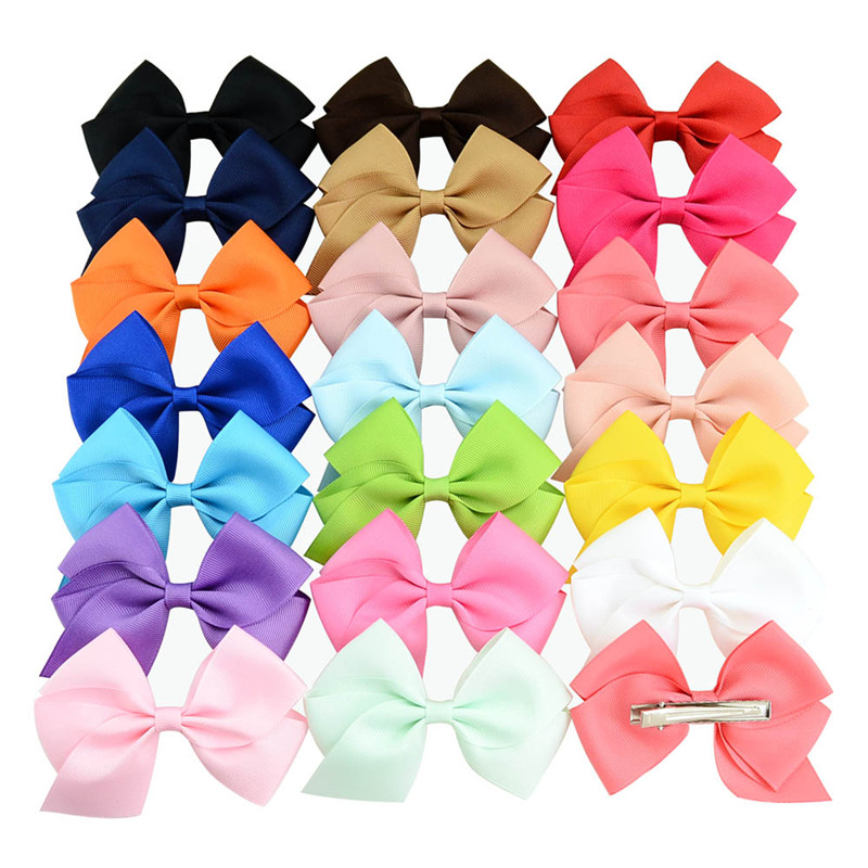 Approx 4 Inch Solid Ribbon Bow Tie with Clip Hair Accessories for Kids Girls Hair Pins Women Hairclips   Headwear   Decorations