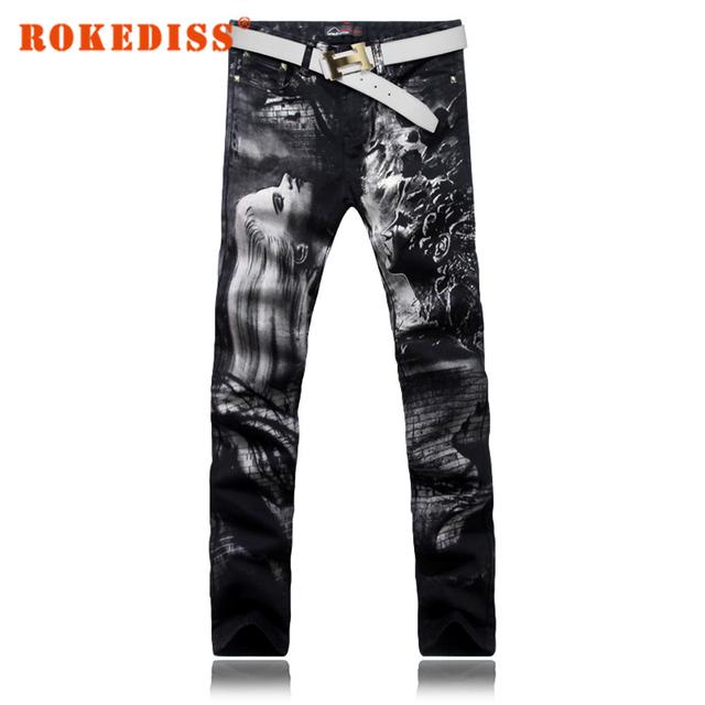 Skinny Jeans Hombres de La Moda de Impresión 3D Pintado Stretch Denim Jeans los hombres Adelgazan Los Pantalones Vaqueros 28-38 de Las Mujeres de pelo largo G205