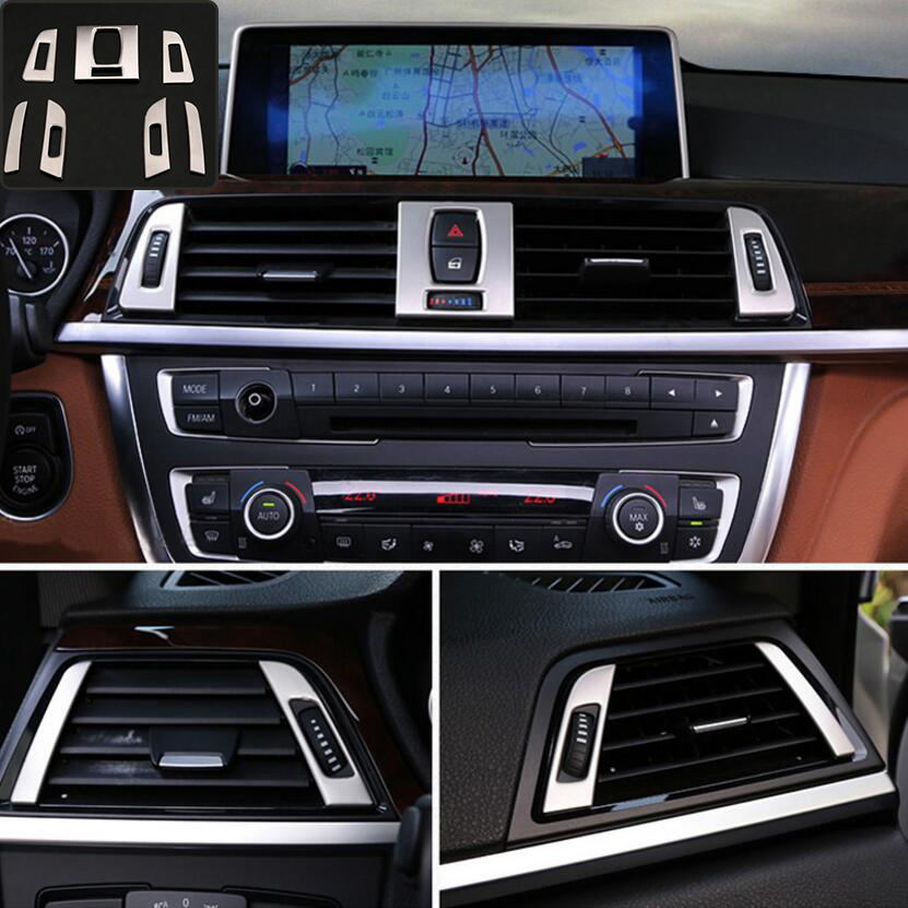 Car Accessories For BMW 3 4 Series 3GT F30 F31 F32 F34 stainless steel Car Air Outlet Air Conditioning Vent frame trim Sticker|Automotive Interior Stickers| |  - title=